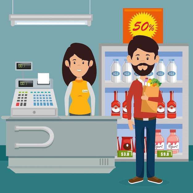 Man met supermarkt boodschappen in boodschappentas Gratis Vector