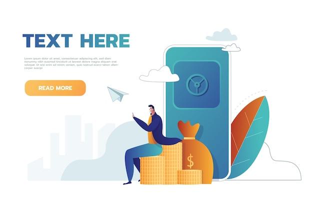 Man met veilige en gouden munten, bankkluis, vectorillustratie voor webbanner, infographics, mobiel. Gratis Vector