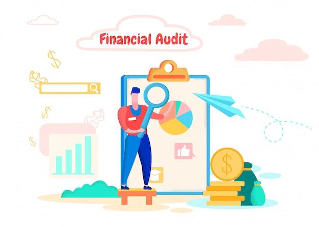 Man met vergrootglas financiële grafiek segmenten Premium Vector