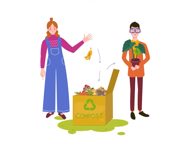 Man met vrouw die compost maakt. compostbak met organisch materiaal. compost voor thuisbloemen, illustratie van bio, organische meststof, afvalrecycling, compost, bodem, agronomie. Premium Vector