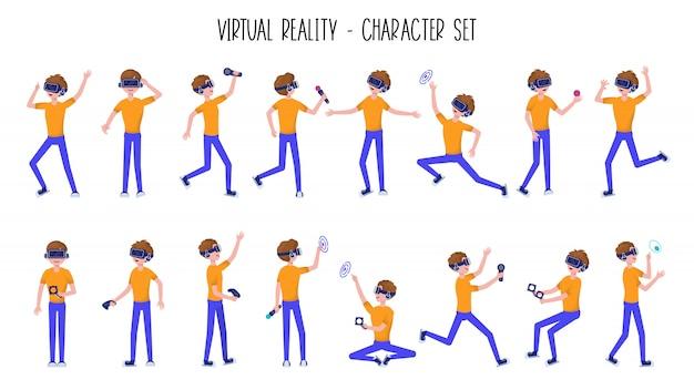 Man of tienerjongen in virtual reality-headset of vr-helm Premium Vector