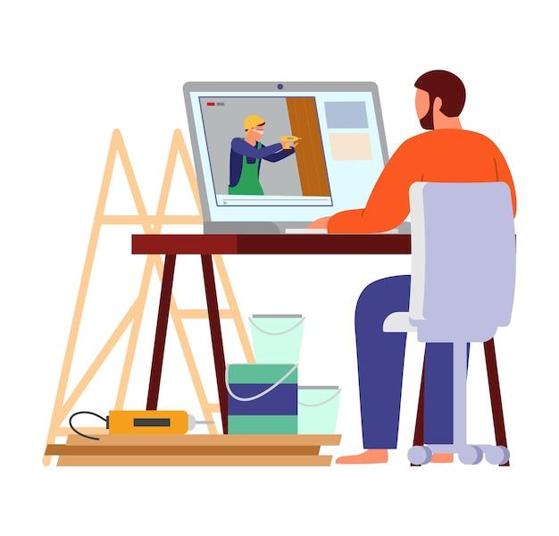 Man omringd door gereedschappen en verfblikken kijken doe-het-zelf builder's videoblog op laptop. Premium Vector