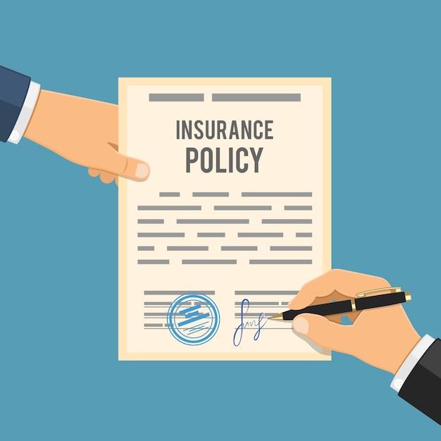 Man ondertekent verzekeringspolis Premium Vector