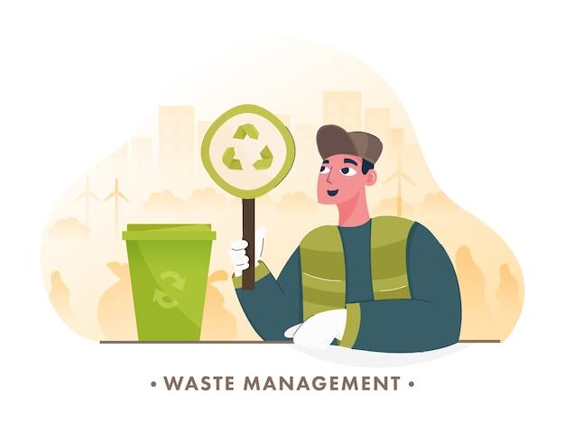 Man onderzoek prullenbak op groene stad achtergrond voor afvalbeheer concept. Premium Vector