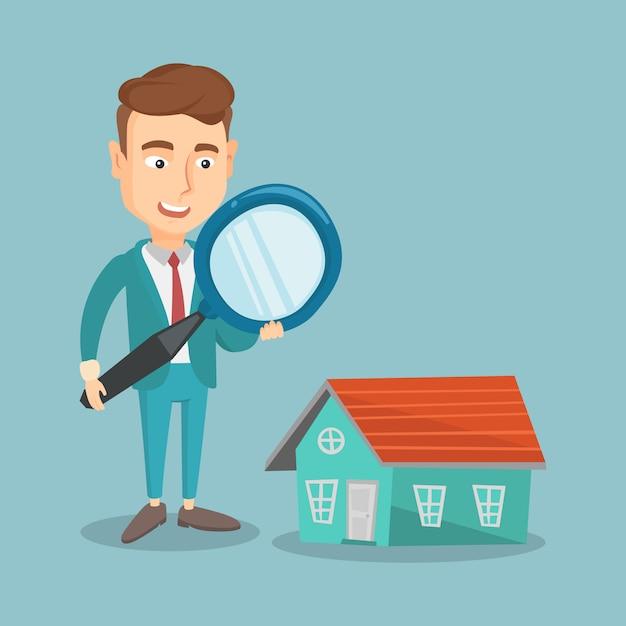 Man op zoek naar huis vectorillustratie. Premium Vector