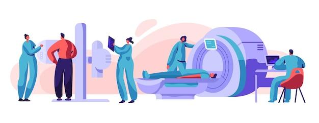 Man patiënt controleren xray mri gezondheidsconcept. medische radiologie schermmachine voor röntgenstraling skelet borstcontrole. karakter scan bot in radiograaf apparatuur platte cartoon vectorillustratie Premium Vector