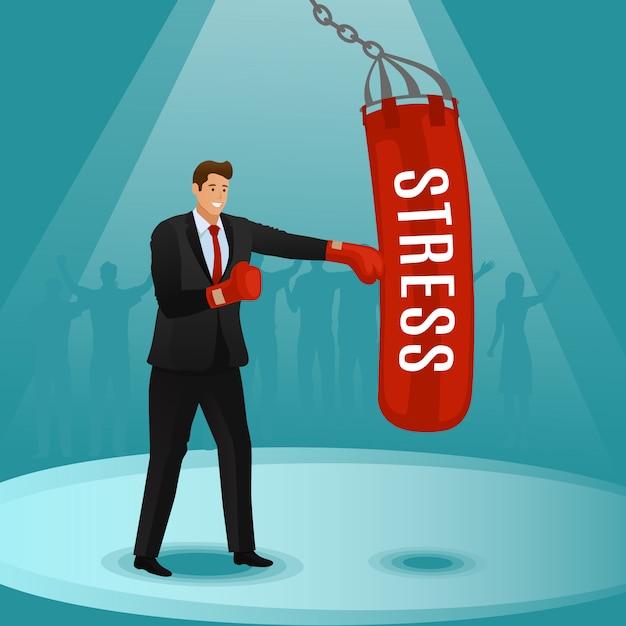 Man raakt bal met naam stress popart retro stijl. hard werken. grappige poster over het onderwerp stress Premium Vector