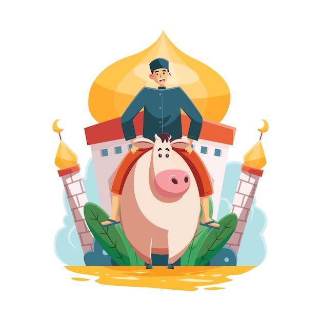 Man riding cow voor eid al adha Premium Vector