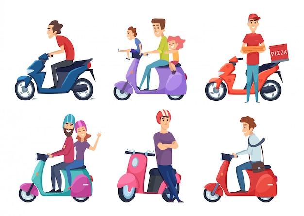 Man rijden motorfiets. snelle fietsscooter voor levering pizza of eten reizigers paar rijden bromfiets Premium Vector