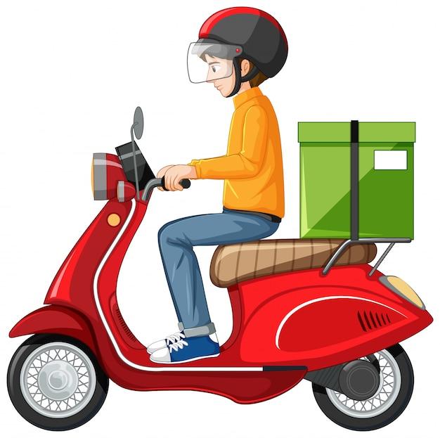 Man rijden scooter op witte achtergrond Gratis Vector