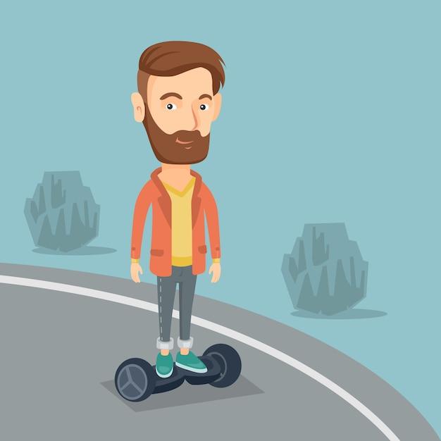 Man rijdt op zelfbalancerende elektrische scooter. Premium Vector