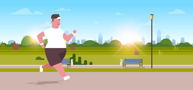 Man running guy joggen buiten stad stadspark gewichtsverlies concept Premium Vector