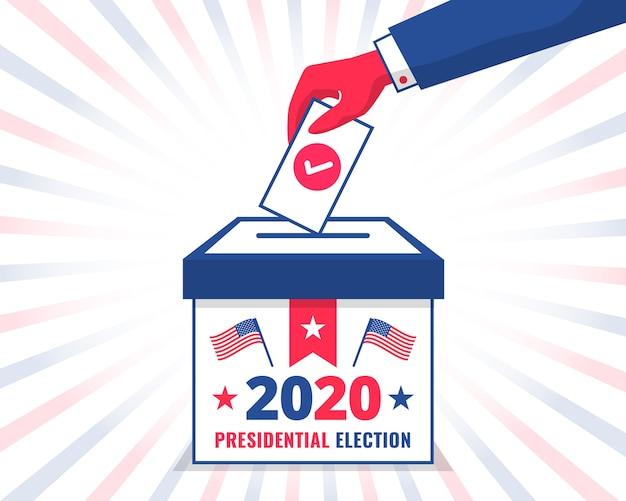 Man's hand stemmen in een stembus voor de amerikaanse presidentsverkiezingen van 2020 Premium Vector