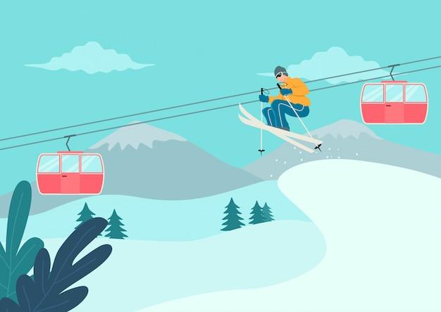 Man skiën op besneeuwde berg Premium Vector