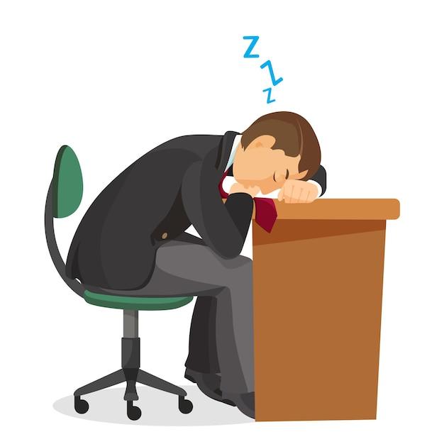 Man slaapt bij het zijaanzicht van het bureau. jonge man slapen op zijn werkplek. uitgeput student rusten. benadrukt overwerkt depressief mannetje slaapt aan tafel. illustratie in realistische de Premium Vector