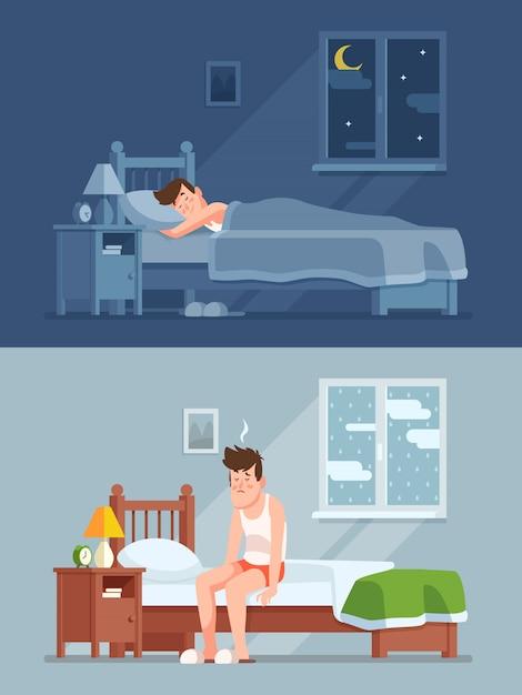 Man slaapt onder dekbed 's nachts, wordt' s morgens wakker met bedhaar en voelt zich slaperig en moe. Premium Vector