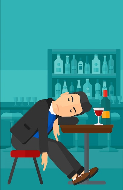 Man slapen in de bar Premium Vector