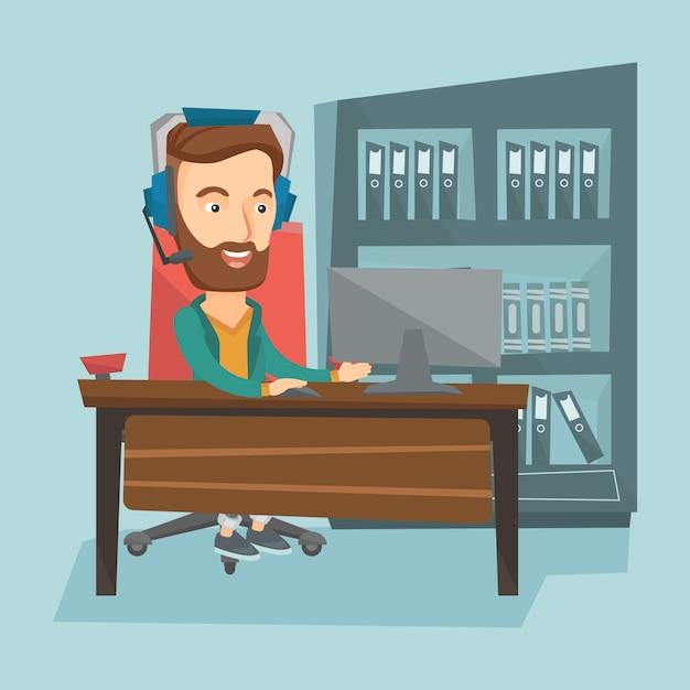 Man spelen computer game vector illustratie. Premium Vector