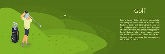 Man spelen golf concept banner, isometrische stijl Premium Vector