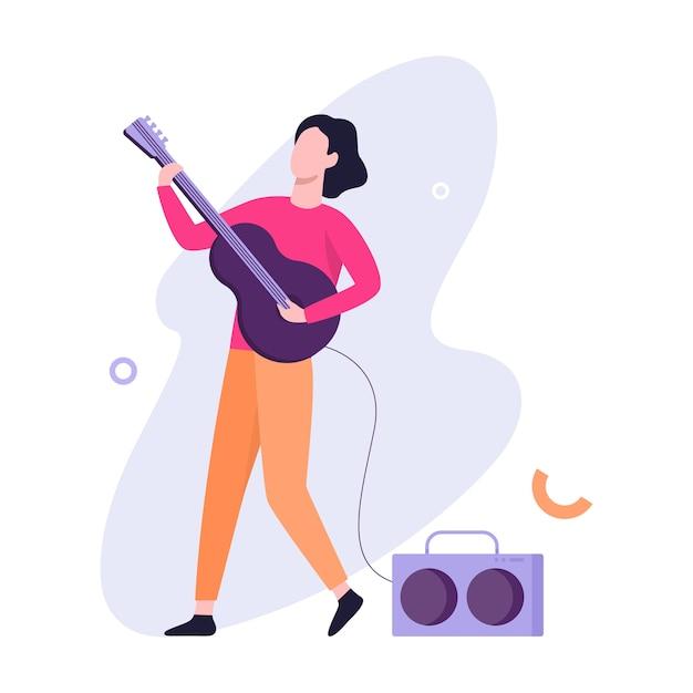 Man spelen van de elektrische gitaar. muzikant op concert. creatieve hobby. illustratie in stijl Premium Vector