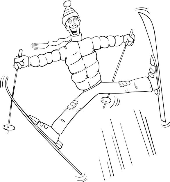 Man Springt Op Ski Kleurplaat Vector Premium Download