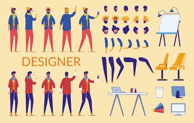 Man tekens designer constructor, apparatuur. Premium Vector