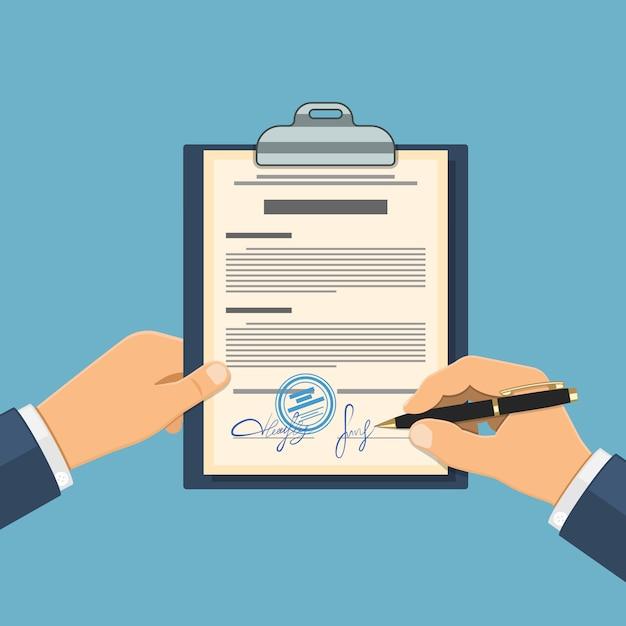 Man tekent overeenkomst Premium Vector