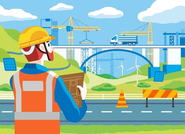 Man toezicht brug bouwplaats, het dragen van veiligheidsuitrusting zoals helm en jas. er is een vrachtwagen en veel zwaar materieel op de bouwplaats. gebruikt voor webafbeelding, poster en andere Premium Vector
