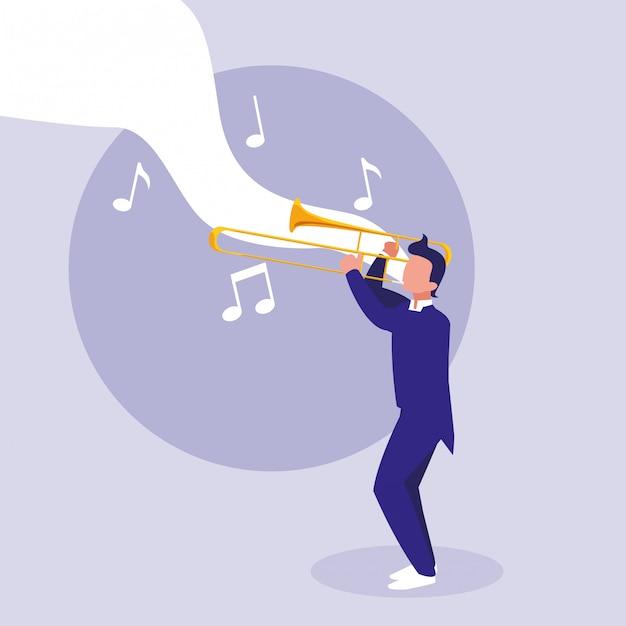 Man trompet instrument spelen Premium Vector