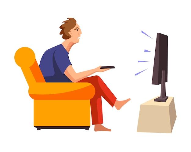 Man verslaafd aan tv-programma's zit op een zachte bank Premium Vector