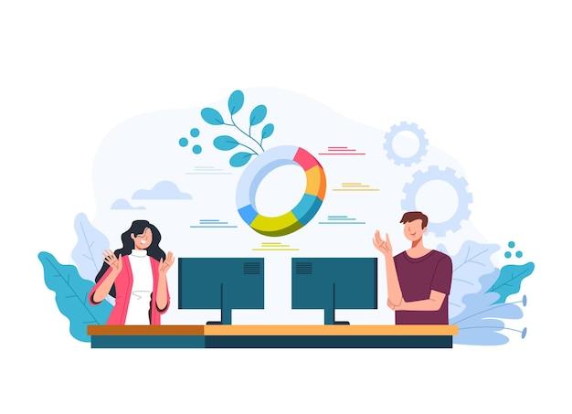 Man vrouw kantoorpersoneel team werken bij financiële analytische statistiek bedrijfsconcept. vector plat grafisch ontwerp illustratie Premium Vector
