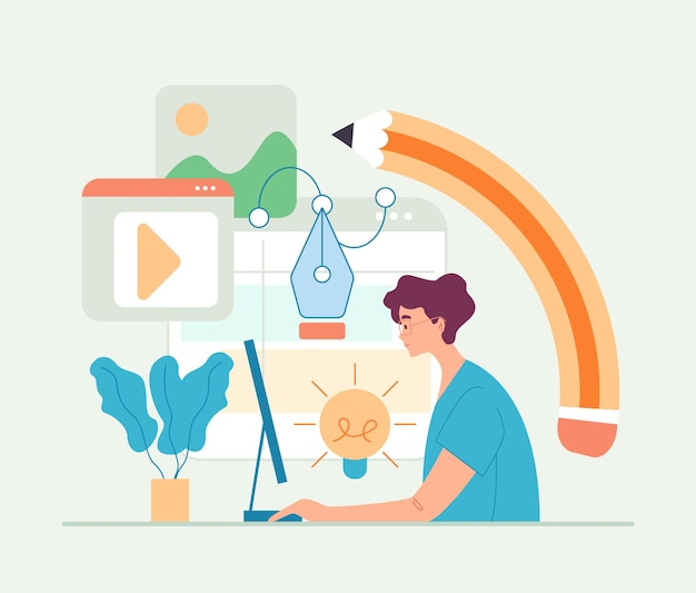 Man werknemer freelancer digitale kunstenaar platte cartoon afbeelding Premium Vector