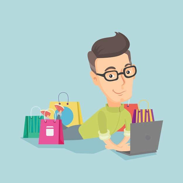 Man winkelen online vectorillustratie. Premium Vector