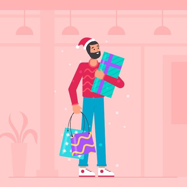Man winkelen voor kerstcadeautjes Gratis Vector