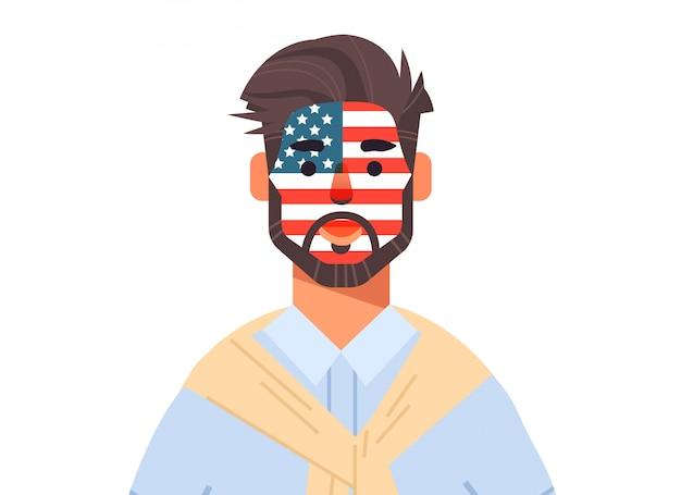 Man wuth verenigde staten vlag gezicht geschilderd vieren 4 juli amerikaanse onafhankelijkheidsdag vakantie concept horizontale portret illustratie Premium Vector