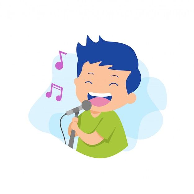 Man zingen karaoke vector Premium Vector