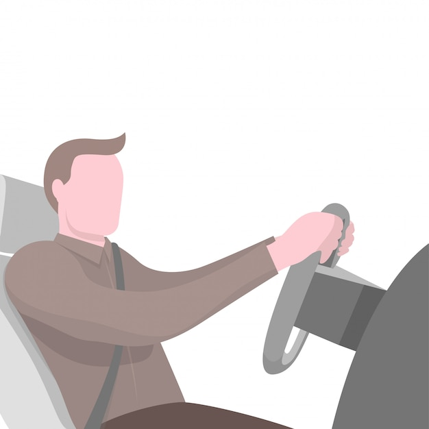 Man zit aan het stuur van de auto Premium Vector