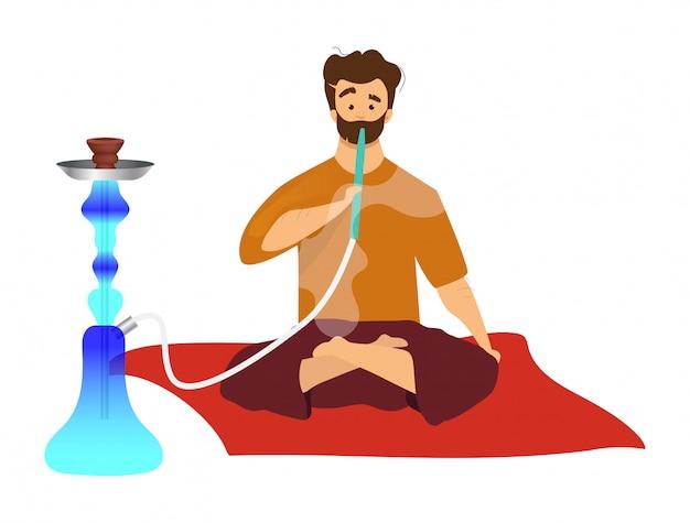 Man zitten en roken waterpijp egale kleur vector gezichtsloze karakter. toerist met egyptische sheesha, hooka. oost-traditionele gewoonte, arabische rookcultuur geïsoleerde cartoon illustratie op wit Premium Vector
