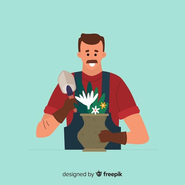 Man zorgt voor planten Gratis Vector
