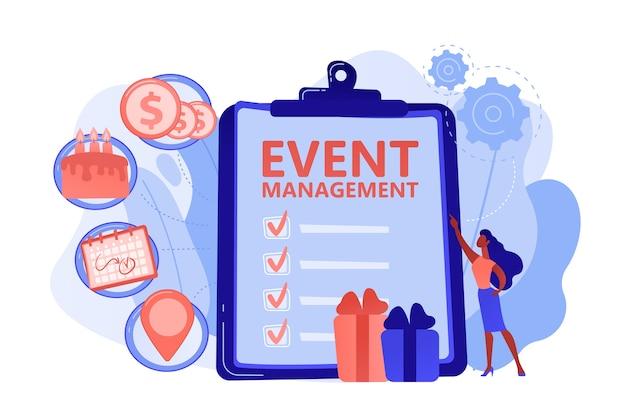 Manager met checklist voor het maken van een evenementenplan en ontwikkeling. evenementbeheer en planningsservice, hoe een evenement te plannen, softwareconcept plannen. roze koraal bluevector geïsoleerde illustratie Gratis Vector