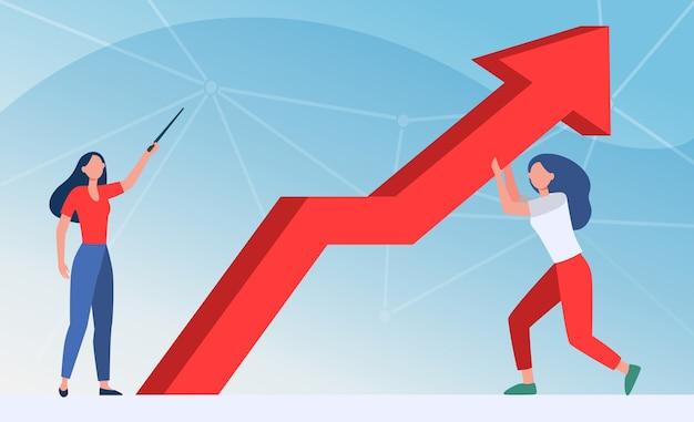 Managers verzetten zich tegen crisis. vrouw die omhoog wijst, haar collega die de groeipijl platte vectorillustratie houdt. zaken doen, problemen oplossen, bankieren Gratis Vector