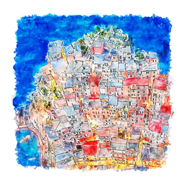 Manarola cinque terre italië aquarel schets hand getrokken illustratie Premium Vector