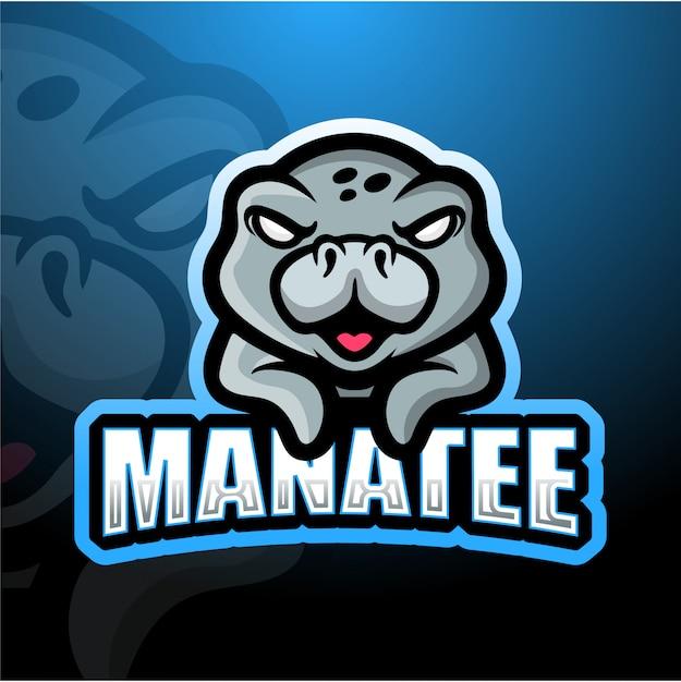 Manatee mascotte esport illustratie Premium Vector