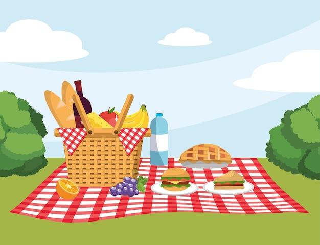 Mand met brood en brood in de tafelkleeddecoratie Premium Vector