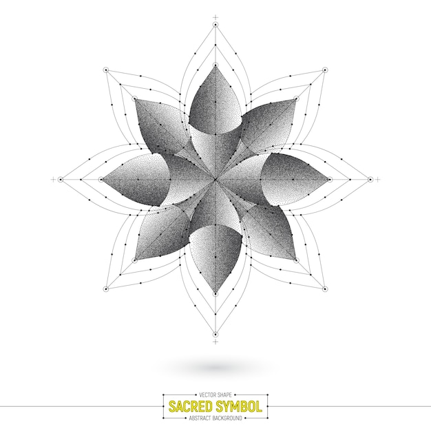 Mandala esoteric sacred symbol vector shape Premium Vector