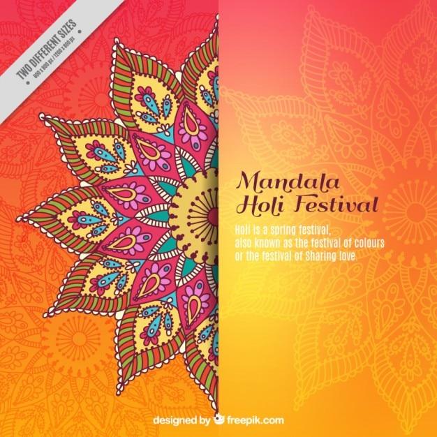 Mandala holi festival achtergrond Gratis Vector