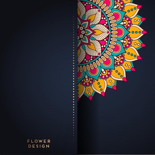 Mandala-illustratie in bloemontwerp Premium Vector