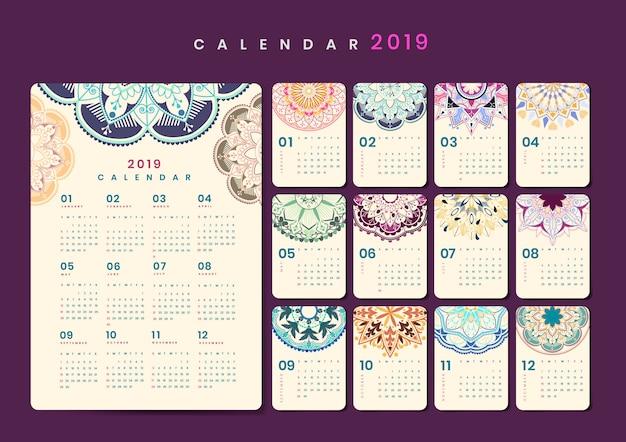 Mandala-kalendermodel Gratis Vector