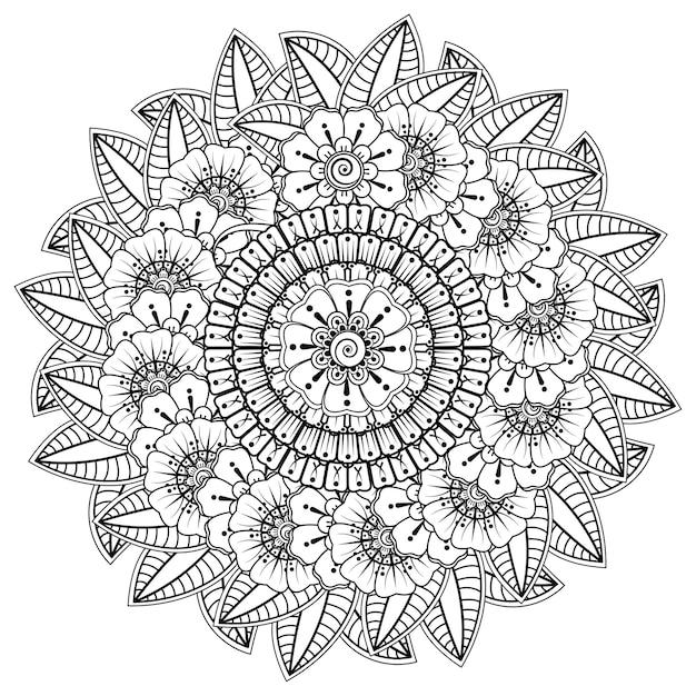 Mandala met bloem voor henna, decoratief ornament in etnische oosterse stijl. kleurboek pagina. Premium Vector
