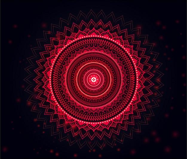 Mandala met mooie zachte rode & zwarte gradiëntachtergrond rood Premium Vector